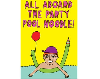 Greeting Card - All Aboard The Party Pool Noodle