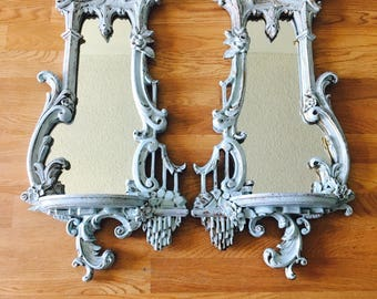 vintage ornate french provincial gold and cottage blue mirrors set of 2 wall art bedroom mirrors candle holders