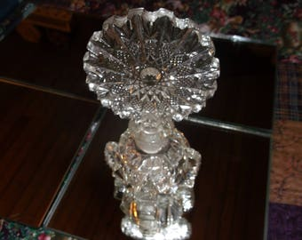 Vintage Crystal Perfume bottle Round Sunflower stopper