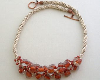 White Kumihimo Woven Cord with Copper Seed Beads and Glass Beads by Carol Wilson of Je t'adorn