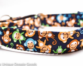 Barrel of Monkeys Dog Collar / Custom / Navy, Green, Brown / Buckle or Martingale