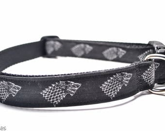 Wolf Dog Collar / House Stark / Game of Thrones / Martingale or Buckle Custom Dog Collar