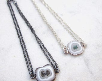 Dainty solar quartz bracelet, minimal chain gemstone bracelet, stalactite slice quartz, shiny or black sterling silver, dainty armband