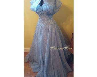 Stunning 50's formal light blue flocked design w shrug jacket gown collector
