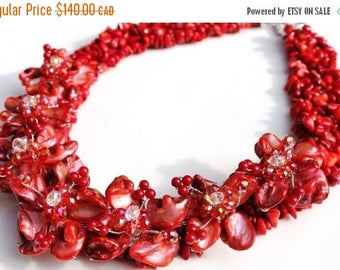 ON SALE Red coral stone bib necklace with mother of pearl shell crystal glass