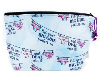Zippered NOTIONS BAG with zipper pull - Big Girl Panties