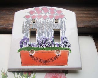 Vintage Ceramic Double Light Switchplate, Wild Garden Motif , 1980's Light Switch Cover, Hand Painted Fired Ceramic, Retro Floral Lighting