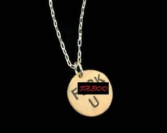 Fuck You, Fuck You, fu, IDFWU, Brass Initial Necklace, Small Circle Necklace, Round Charm, Brass Pendant, Mature