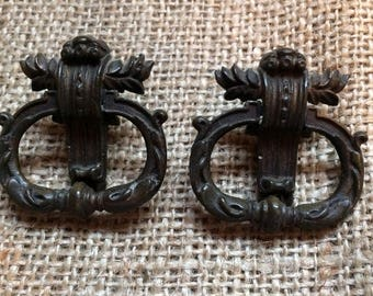 Restoration Hardware|French Provincial Furniture Pulls | Replacement Hardware | French Hardware | Upcycled Pulls |Vintage Ring Pulls, MCM