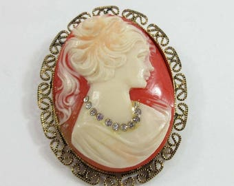 SALE Cameo Brooch Pin Lady Signed West Germany Habille Necklace 9108