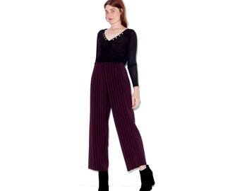 vintage 90s PINSTRIPE PANTS / incredible oxblood berry wine color striped pants high waisted pants cropped pants wide leg pants raw hem