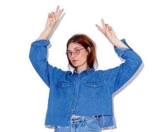 ECLIPSE HALF OFF sale vintage 90s Denim Crop Top one size / asymmetrical cropped shirt oversized shirt boyfriend shirt button up shirt blous