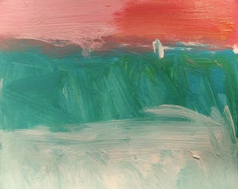 Out there / Expressive painting blue green red pink abstract with sail art  10 x 10 in, Russ Potak