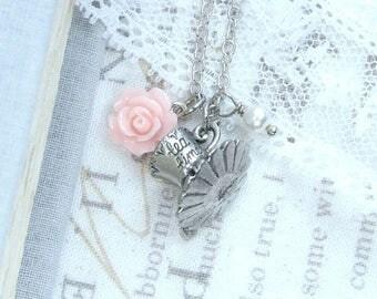 Tea Party Necklace Tea cup Necklace Pink Rose Necklace Tea Lover Gift Necklace Shabby Chic Necklace