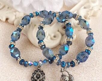 SALE 20% Off Stack Bracelet Set - Victorian - Layering Bracelets - Blue Stacking Bracelets - VICTORIAN BLUE