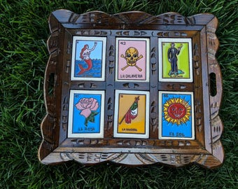 Mexican Loteria 6-tile Wooden Tray.