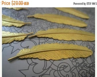SUMMER SALE Solid Raw Brass Feather - 52mmx12mm - 40 pcs