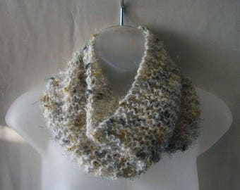 Handknit wool blend cowl neckwarmer with gold, silver & pewter threads