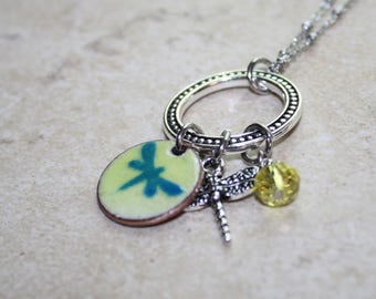 Dragonfly Necklace, Dragonfly Charm Necklace, Blue Dragonfly, Dragonfly Jewelry, Coin Jewelry, Dragonfly Pendant, Enameled Dragonfly, Charms
