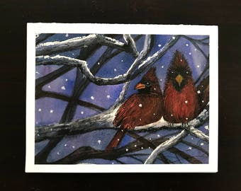 FREE SHIPPING, Christmas Cards, Winter, Snow, Snowy, Tree, Cardinals, Birds, Snowy Branches, Watercolor Fine Art Print by Janet Dosenberry