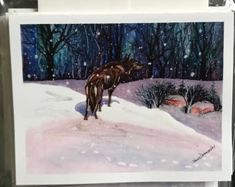This is a fine art watercolor print whose image has been made into  55 Christmas Cards w/Envelopes, Sold in a blundle by Janet Dosenberry