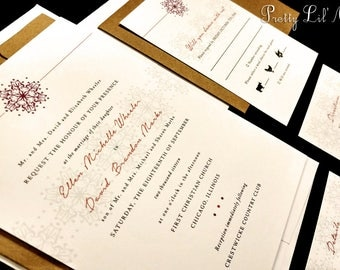 Snowflake Monogram Custom Unique Wedding Invitation Elegant Flourish Initial Formal Lace Holiday Party Christmas Winter Liner Snow Lace Red
