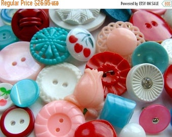 ONSALE 3 Dozen Plus Vintage Buttons Glass Mixed Rhinestone Buttons Kitsch Cherry Pink and Aqua Collection N0 250