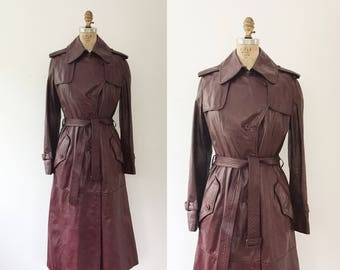 vintage leather coat / vintage trench coat / Etienne Aigner Coat