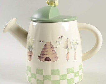 Pfaltzgraff Naturewood Watering Can Cookie Jar EUC Free Shipping in US