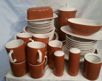 Vintage Genuine Ironstone Tierra dinner set for 8, with all the extras! Browns. 49 pieces total
