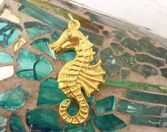 Golden Seahorse Pendant,Stamped Seahorse Pendant Charm-Large Gold Seahorse Pendant