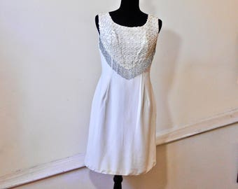 1960s Ivory Silk Shift with Beaded and Sequined Yoke - Groovy Silk Beaded Dress - Mod Silk Sequined Shift