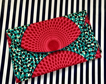 Red Ankara Clutch Bag, Ankara Print Clutch, Bridesmaids Gifts, Gifts for Her, African Print Bag
