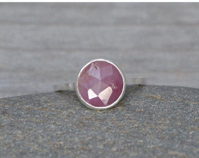 Summer Sale Rose Cut Sapphire Ring, Over 2ct Pink Sapphire Ring, September Gift, Handmade In The UK
