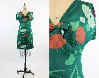 60s Dress I Magnin Betty Clyne Silk Small  / 1960 Vintage Dress Shift / Autumn Chrysanthemum Dress