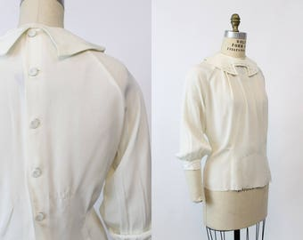 50s Studded Collar Blouse Large XL / 1950s Vintage Button Back Jacket / Ivory Dreams Top