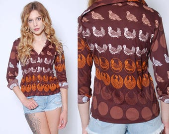 Vintage 70s BIRD Print Shirt GRAPHIC Button Down Skinny Fit Blouse Novelty Print Top
