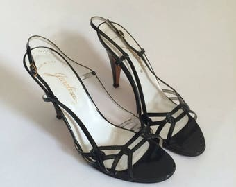 SALE Vintage Garolini Made in Italy Stiletto Heels Made in Italy 8 1/2 Shoes // black evening strapy sandals pumps