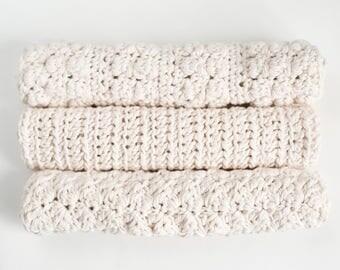 Set of Three, 100% Cotton Washcloths in Fern
