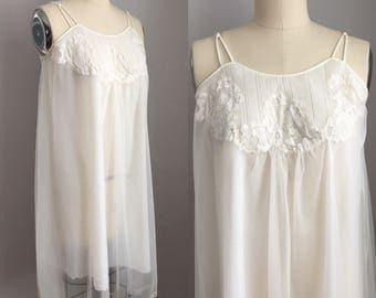 Vintage 1960s White Nylon Chiffon and Lace Leonora Nighty Nightie Size XS