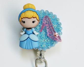 Disney's Cinderella ID Badge Reel - Retractable ID Badge Holder - Zipperedheart