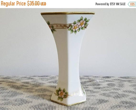 Christmas in July Sale Vintage Art Deco Nippon Japan hand painted porcelain ceramic hexagon bud vase