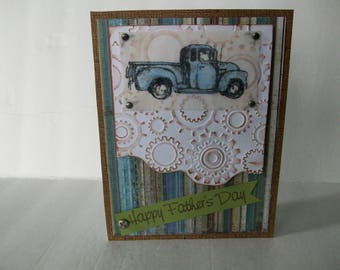 Blue Chevy Truck Card, Happy Father's Day Card, Old-Vintage Truck Card, Blue Chevy Dad's Day Card, Handmade Chevy Truck Card
