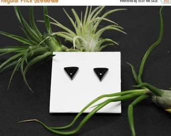Christmas In July Sale - Black Onyx Gemstone . 8mm Domed Triangles . Sterling Silver Posts Studs Earrings . Jet Black . E17093