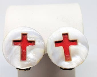 Red Cross Under White Mother of Pearl MOP Vintage Earrings Clip