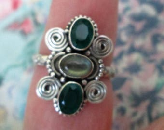 RING - Double CHALCEDONY- LABRADORITE - Elongated   - Fancy Band - Sterling Silver  - 925  - size 9 Green192