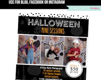 Halloween Mini Session Template - Halloween Minis - Photography Marketing board - INSTANT DOWNLOAD - Blog Facebook Instagram Ready