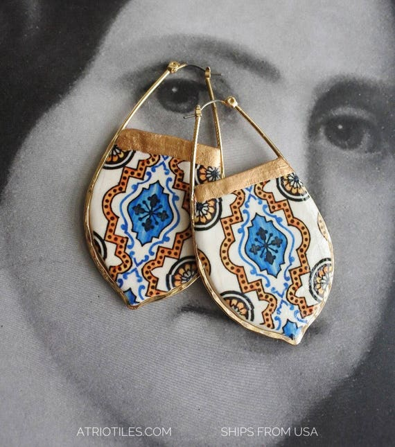 Hoop Tile Earrings Portugal Portuguese Antique AZULEJO, Blue  Brown Persian Tribal Ethnic Ovar, Ships from USA - Gift Box Included