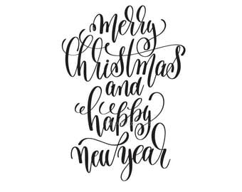 Merry Christmas Decal, Happy New Year Decal, Fancy Script Style, Vinyl Letter, Handwritten, Make your own sign, December, Happy Holidays Art