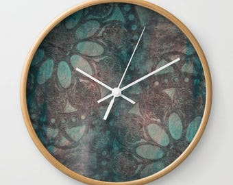 Flower design clock, stamped rosettes wall clock, blue painted daisy print clock, weathered look clock home decor, rustic wall decor art